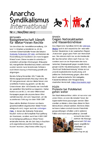 Anarchosyndikalismus international Nr. 1 - Titel