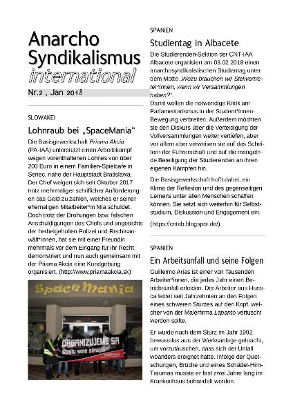 Anarchosyndikalismus international Nr2. - Jan. 2018