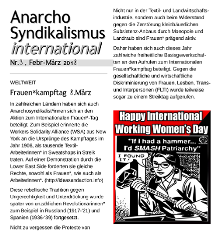 Anarchosyndikalismus international Nr. 3 (Febr-März 2018)