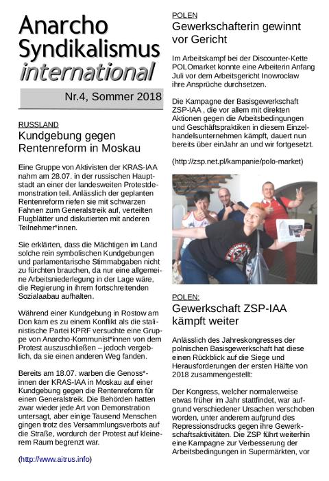 Anarchosyndikalismus internationale Nr.4 - Sommer 2018