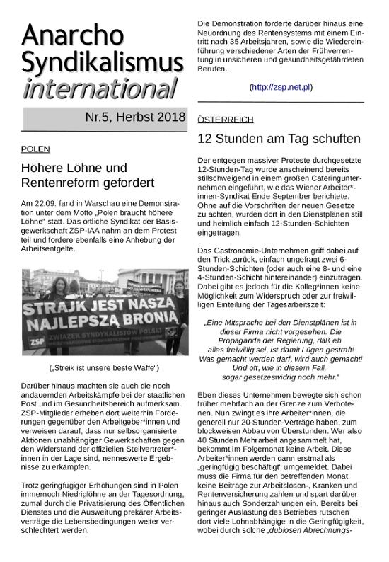 Anarchosyndikalismus international, Nr 5 (Titel)