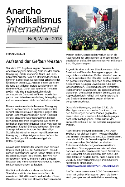 Anarchosyndikalismus international, Nr. 6, Winter 2018
