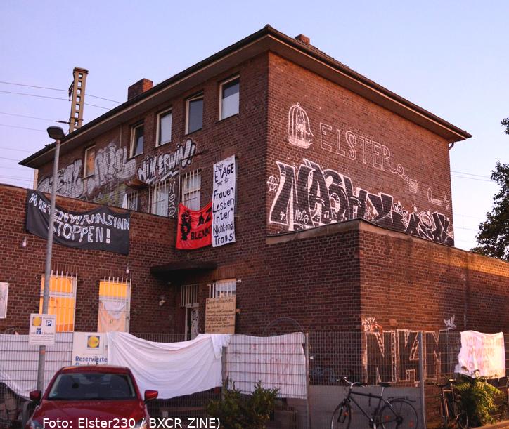 """Hausbesetzung \""""Elster\"""", Vogelsanger Str 230, Köln-Ehrenfeld (Foto: @elster230/BXCR-ZINE)"""