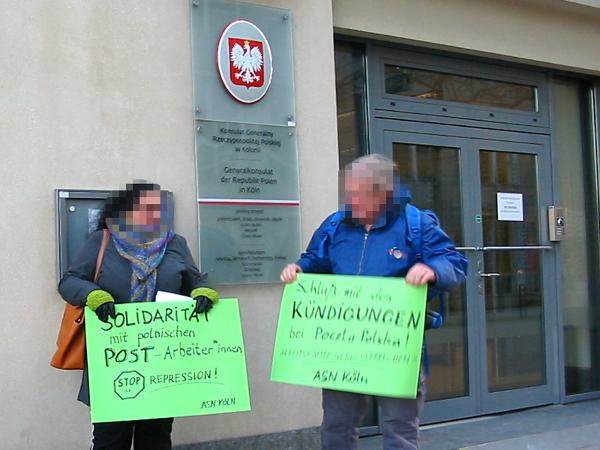 ASN-Protest vor dem Polnischen Konsulat in Köln